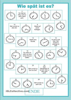 Board game - time - English ESL Worksheets for distance learning and physical classrooms English Games, English Activities, Learning Activities, Kids Learning, Articulation Activities, Therapy Activities, German Language Learning, Teaching English, Learn German
