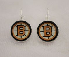 Boston Bruins Earrings made from Hockey Trading Cards Great for Game Day…