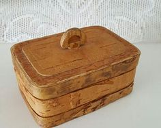 Finnish Vintage Birch bark box Made in Finland in the 1970s