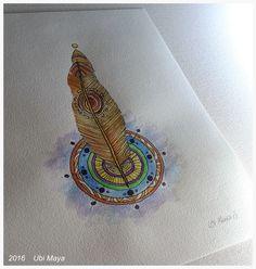 """Da Série Armas dos Orixás: """"ORI""""  Técnica: bico de pena e aquarela s/ papel de 180g/m², tamanho 28X20cm. https://www.instagram.com/notovitch/"""
