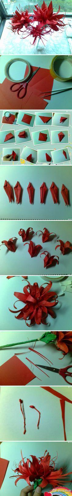 曼珠沙华折纸,Cool Flower Crafts , Paper Crafts for Teens , paper, craft, flower,wrap, gift, decor,blumen,basteln,bastelvorlage,tutorial diy, spring kids crafts, paper flowers,diy, bauble, ornament