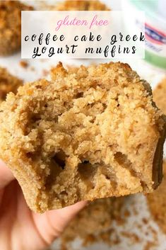 These healthy coffee cake greek yogurt muffins are one of my all-time favorite healthy breakfast ideas. They are great to meal prep for the week, are gluten-free and a huge crowd pleaser! Gluten Free Coffee Cake, Coffee Cake Muffins, Gluten Free Muffins, Healthy Muffins, Healthy Sweets, Gluten Free Baking, Gluten Free Desserts, Healthy Baking, Healthy Coffee Cakes