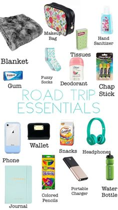 What to bring with you on your next road trip! The ultimate road trip packing list for a fantastic experience. Don't forget any of these road trip essentials so you can focus on having an epic time! Travel Packing Checklist, Travel Bag Essentials, Road Trip Essentials, Road Trip Hacks, Travelling Tips, Road Trip Checklist, Airplane Essentials, Packing Tips For Vacation, Packing Lists