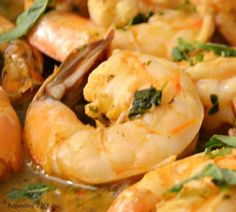 A nice tart, sweet, and spicy shrimp dish marinated in a margarita sauce.
