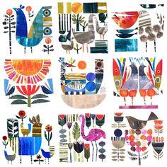 Paper Collage Art, Paper Art, Art Fantaisiste, Art Populaire, Art Textile, Art Et Illustration, Whimsical Art, Art Design, Art Plastique