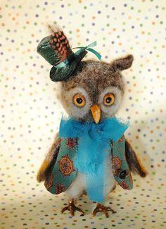Owl needle felted toy bird sculpture Unique doll by katuasha