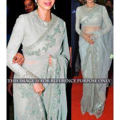 Net Zari Work Grey Bollywood Designer Saree - BT106