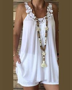 Women casual sleeveless tops lace strapped tank tops pure color loose tops beach party wear summer plus size Loose Tank Tops, Lace Vest, Blouse Styles, White Tops, Plus Size, Fashion Outfits, Fashion Site, Men Fashion, Clothes