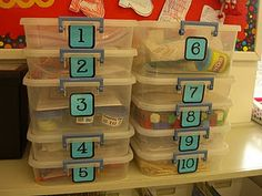 I like the idea for these containers for math stations. First Grade Garden: Math Stations - Set 1 Math Classroom, Kindergarten Math, Teaching Math, Classroom Ideas, Teaching Ideas, Future Classroom, Classroom Organization, Math School, School Fun
