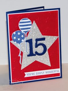My Son Carson turns 15 today. Here is his card and a shot of him that I had to beg for!The numbers on the Star are a retired Bigz die that SU used to sell. Everything else is current! Stamps: Simply Wonderful (sale-a-bration), Ballon BashPaper: Night of Navy, Real Red, Silver Glimmer, Whisper Wh