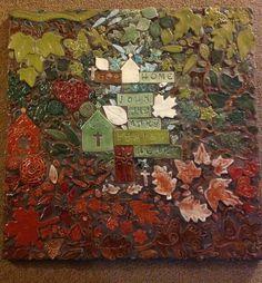 Handmade stoneware tiles on 2'x2' board.