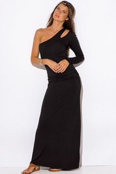 Black-One-Shoulder-Cut-Out-Sleeve-Ruched-Fitted-Evening-Maxi-Dress from Bonita Moda Boutique