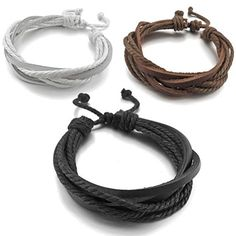Men,Women's 3PCS Genuine Leather Bangle Bracelet Cord Brown White Black Braided Tribal (with Gift Bag) INBLUE http://www.amazon.com/dp/B00GSEN3YW/ref=cm_sw_r_pi_dp_BffJvb0S5YDHQ