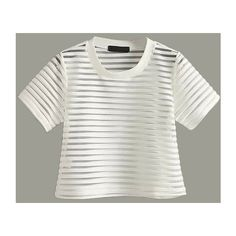 LUCLUC White See Through Striped T-Shirt ($18) ❤ liked on Polyvore featuring tops, t-shirts, stripe top, sheer t shirt, white t shirt, sheer stripe top and sheer tee