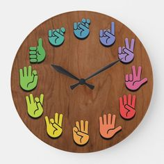 ASL Woodgrain Large Clock ASL sign language hands clock, with hands in color wheel colors, on a woodgrain faux finish background. Sign Language Phrases, Sign Language Alphabet, Learn Sign Language, American Sign Language, Sign Language Colors, Words In Sign Language, Sign Language For Kids, Asl Signs, Language Lessons