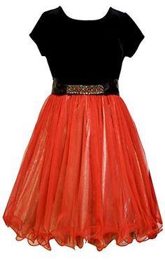 Bonnie Jean Big Girls Red Mesh Gold Lame Dress 7 ** You can get more details by clicking on the image.