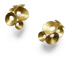 Seed Pod Round Earrings Gold by Kayo Saito