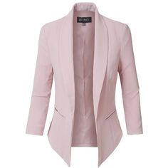 LE3NO Womens Fully Lined 3/4 Sleeve Open Front Tuxedo Blazer Jacket... (79 TND) ❤ liked on Polyvore featuring outerwear, jackets, blazers, pink jacket, draped blazer, tuxedo dinner jacket, three quarter sleeve blazer and fleece-lined jackets