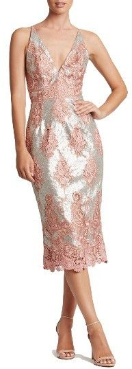 Dress The Population Angela Sequin & Lace Midi Dress with floral lace insets blossoming over a sequins. Extra romantic choice for Valentine's Day.