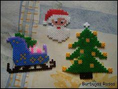 Navidad perlas Hama - Decoración navideña por Burbujas rosas