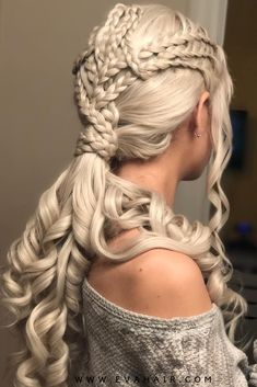 Game of Throne Daenerys Inspired Grayish Blonde Synthetic Lace Front Wig - All Synthetic Wigs Medieval Hairstyles, Fancy Hairstyles, Braided Hairstyles, Khaleesi Hair, Viking Hair, Natural Hair Styles, Long Hair Styles, Grunge Hair, Hair Dos