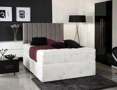 6ft Super King Size Divan Bed Base in Cream Damask