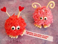 Valentine's Day warm fuzzy cake balls. I used to love getting these guys when I was in school!