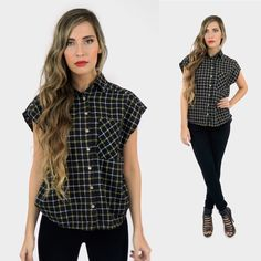 ❌ CLEARANCE! STUDDED FLANNEL TOP Pictures are showing a small. $15 Clearance sale! Price firm unless bundled.Black and yellow plaid studded boxy flannel top. 100% Cotton Tops