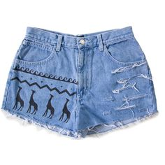 High Waisted Denim Shorts Vintage Distressed Tribal Aztec Giraffe... ($68) ❤ liked on Polyvore featuring shorts, bottoms, distressed high waisted shorts, distressed denim shorts, jean shorts, high waisted shorts and ripped jean shorts