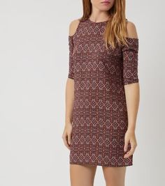 £19.99 New Look Red Tile Print Open Shoulder Tunic Dress