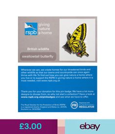 Collectable Badges Rspb Pin Badge | Swallowtail Butterfly | Gnah Backing Card [00946] #ebay #Collectibles British Wildlife, Pin Badges, How To Find Out, Butterfly, Jewellery, Cards, Ebay, Jewels, Jewelry Shop