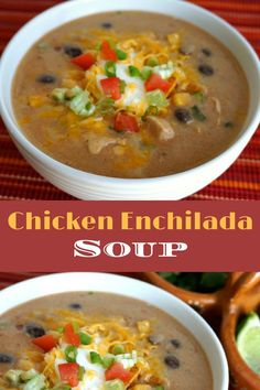 Chicken Enchilada Soup Recipe - A thick and hearty with a little spice, chunks of chicken, lots of satisfying cheese and crunchy tortilla topping! Click to get the full recipe!
