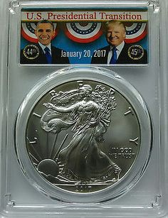 PCGS MS70 2017 First Strike TRUMP OBAMA Silver AMERICAN EAGLE Dollar $1 Coin;1oz