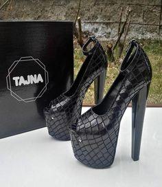 Black Croco Pumps 19-20 cm High Heel Platform Shoes Ankle Strap   Highheelboots Zapatos 5f559df6a5b6