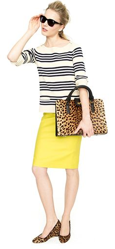 Comfortable outfit with all the charm needed. Yellow skirt, nautical stripes, animal print wedge heels.  I need more colorful pencil skirts...