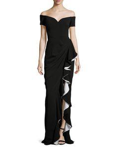 TCZMF Badgley Mischka Off-the-Shoulder Draped Ruffle Column Gown, Black/Ivory