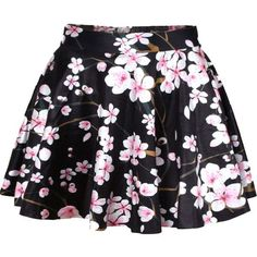 Black Peach Blossom Print Pleated Skater Skirt