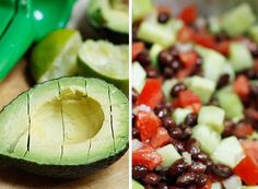 Black Bean, Avocado, Cucumber and Tomato Salad - A touch of lime and a little cilantro makes this a perfect companion for grilled chicken or steak. Serve this as a side dish or also delicious served as a dip with nachos.