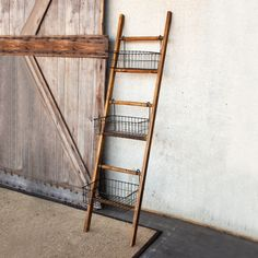 Ladder Shelving Unit with Baskets | dotandbo.com