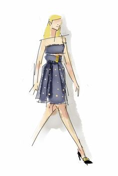 Bandeau with pleated skirt at Calvin Klein.  [Photo by Paper by FiftyThree]