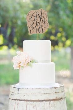 Wedding Cake Topper, Best Day Ever, Wedding Calligraphy, Paper Cake Topper, Wedding Decor