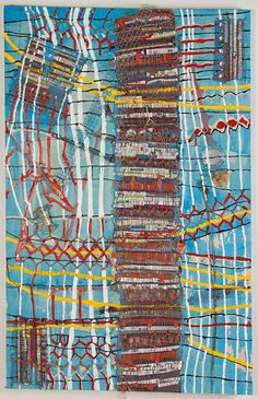 """<em>Margot, Discarded objects, handwoven fabric and oil on canvas, 50x32"""", 2012. </em>"""