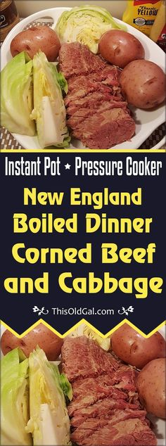 Pressure Cooker New England Boiled Dinner (Corned Beef and Cabbage) is ready in less than two hours in the Pressure Cooker. via @thisoldgalcooks