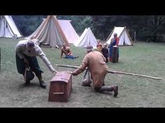 viking games, jomswikinger -both blindfolded -must keep one hand on the box - First guy: [Name of second guy] may I hit you with the bag? Second guy: Certainly. ->First guy tries to hit him, Now Second Guy's Turn. -winner is the one who lands three blows