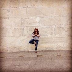 Tree pose in front of the Washington Monument