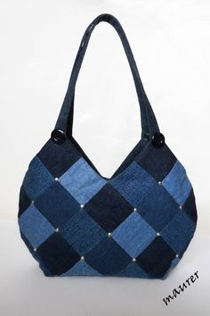 Shoulder bag Blue denim satchel Women's bag Denim patchwork pouch Recycled jeans Gift for a girl /woman Casual bag Eco friendly Upcycled Shoulder tote bag blue denim tote bag women's shoulder Denim Handbags, Denim Tote Bags, Denim Purse, Denim Jeans, Denim Bags From Jeans, Quilted Handbags, Denim Patchwork, Patchwork Bags, Quilted Bag