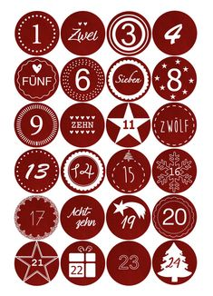 Adventskalenderzahlen - Adventskalender Sticker - Stoffoptik Rot - ein…