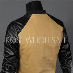 Slimming Trendy Stand Collar Hit Color PU Leather Splicing Zipper Pockets Long Sleeve Cotton Jacket For Men