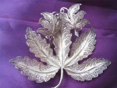 Topazio Sterling Silver Filigree Brooch Pin Earrings Fall Leaves Gorgeous | eBay