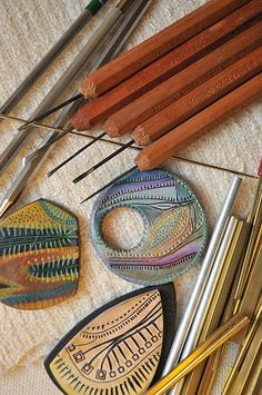 A variety of tools used to carve and imprint patterns into the raw polymer clay before baking. Part of Creative Textures set